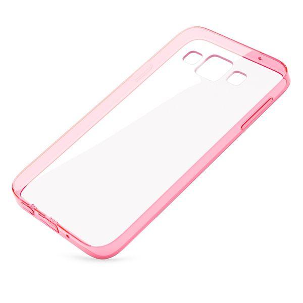 NALIA Handyhülle kompatibel mit Samsung Galaxy A3 2015, Durchsichtige Slim Silikon Case Hülle, Transparente Rückseite & Bumper, Schutzhülle Etui Dünn Handy-Tasche Thin Back-Cover - Transparent / Pink – Bild 2