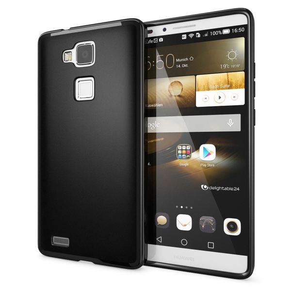 NALIA Handyhülle für Huawei Ascend Mate 7, Ultra-Slim Silikon Case Hülle, Dünne Crystal Schutzhülle, Etui Handy-Tasche Back-Cover Bumper, softe TPU Smart-Phone Gummihülle - Matt Schwarz – Bild 1