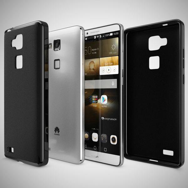 NALIA Handyhülle kompatibel mit Huawei Ascend Mate 7, Ultra-Slim Silikon Case Hülle, Dünne Crystal Schutzhülle Etui Handy-Tasche Back-Cover Bumper, Softe TPU Smart-Phone Gummi-Hülle - Matt Schwarz – Bild 4