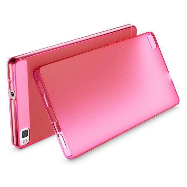 NALIA Handyhülle für Huawei P8, Ultra-Slim Silikon Case Cover Hülle, Dünne Crystal Schutzhülle, Etui Handy-Tasche Back-Cover Phone Bumper, softe TPU Gummihülle für P-8 Smartphone - Matt Pink – Bild 2