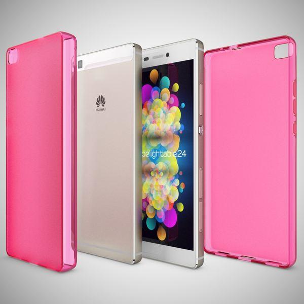 NALIA Handyhülle für Huawei P8, Ultra-Slim Silikon Case Cover Hülle, Dünne Crystal Schutzhülle, Etui Handy-Tasche Back-Cover Phone Bumper, softe TPU Gummihülle für P-8 Smartphone - Matt Pink – Bild 4