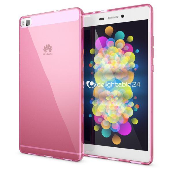 NALIA Handyhülle kompatibel mit Huawei P8, Ultra-Slim Silikon Case Cover Hülle, Dünne Crystal Schutzhülle Etui Handy-Tasche Thin Back-Cover Bumper Softe TPU Smart-Phone Gummi-Hülle - Transparent Pink – Bild 1