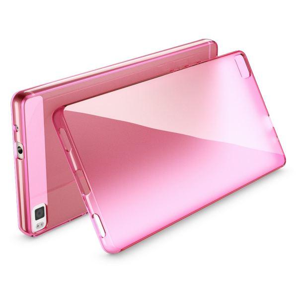 NALIA Handyhülle für Huawei P8, Ultra-Slim Silikon Case Cover, Dünne Crystal Schutz-Hülle, Etui Handy-Tasche Back Phone Bumper, softe TPU Gummihülle für P-8 Smartphone - Transparent / Pink – Bild 2