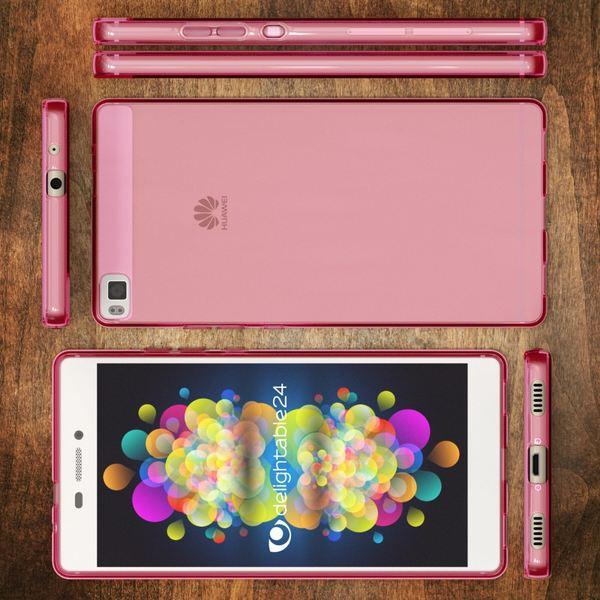 NALIA Handyhülle kompatibel mit Huawei P8, Ultra-Slim Silikon Case Cover Hülle, Dünne Crystal Schutzhülle Etui Handy-Tasche Thin Back-Cover Bumper Softe TPU Smart-Phone Gummi-Hülle - Transparent Pink – Bild 6