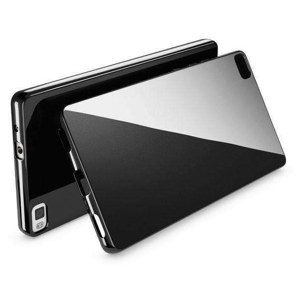 NALIA Handyhülle kompatibel mit Huawei P8, Ultra-Slim Silikon Case Cover Hülle, Dünne Crystal Schutzhülle Etui Handy-Tasche Schale Thin Back-Cover Bumper, Softe TPU Smart-Phone Gummi-Hülle - Schwarz – Bild 2