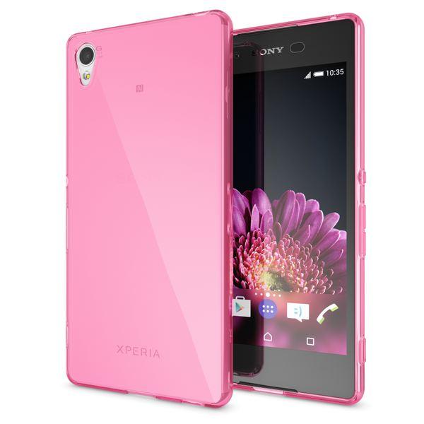 NALIA Handyhülle kompatibel mit Sony Xperia Z3+ Plus, Ultra-Slim Silikon Case, Dünne Crystal Schutzhülle, Etui Handy-Tasche Back-Cover Bumper, TPU Smartphone Gummihülle - Transparent / Pink – Bild 1