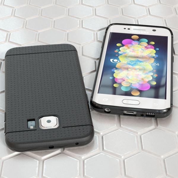 NALIA Handyhülle kompatibel mit Samsung Galaxy S6 Edge, Ultra-Slim Case Hülle Soft-Cover, Dünne Punkte Schutzhülle Etui Handy-Tasche  Back-Cover Bumper, TPU Smart-Phone Silikon-Hülle - Mesh Schwarz – Bild 5