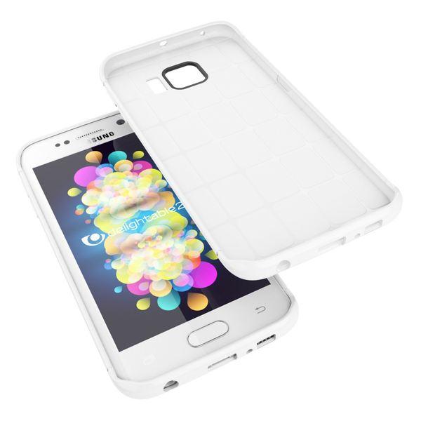 NALIA Handyhülle kompatibel mit Samsung Galaxy S6 Edge, Ultra-Slim Case Hülle Soft-Cover, Dünne Punkte Schutzhülle Etui Handy-Tasche Schale Back-Cover Bumper TPU Smart-Phone Silikon-Hülle - Mesh Weiß – Bild 4