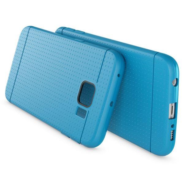 NALIA Handyhülle kompatibel mit Samsung Galaxy S6 Edge, Ultra-Slim Case Hülle Soft-Cover, Dünne Punkte Schutzhülle Etui Handy-Tasche Schale Back-Cover Bumper TPU Smart-Phone Silikon-Hülle - Mesh Blau – Bild 2
