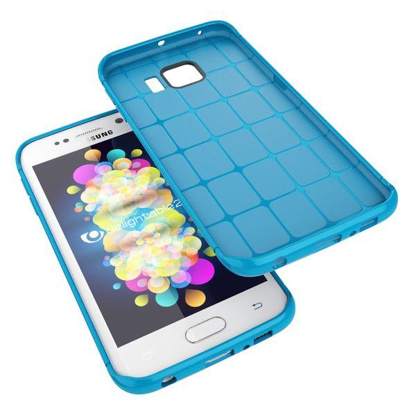NALIA Handyhülle kompatibel mit Samsung Galaxy S6 Edge, Ultra-Slim Case Hülle Soft-Cover, Dünne Punkte Schutzhülle Etui Handy-Tasche Schale Back-Cover Bumper TPU Smart-Phone Silikon-Hülle - Mesh Blau – Bild 4