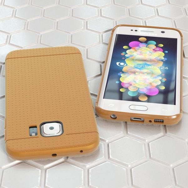 NALIA Handyhülle kompatibel mit Samsung Galaxy S6 Edge, Ultra-Slim Case Hülle Soft-Cover, Dünne Punkte Schutzhülle Etui Handy-Tasche Back-Cover Bumper, TPU Phone Silikon-Hülle - Mesh Champagner Gold – Bild 5