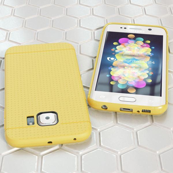 NALIA Handyhülle kompatibel mit Samsung Galaxy S6 Edge, Ultra-Slim Case Hülle Soft-Cover, Dünne Punkte Schutzhülle Etui Handy-Tasche Schale Back-Cover Bumper TPU Smart-Phone Silikon-Hülle - Mesh Gelb – Bild 5