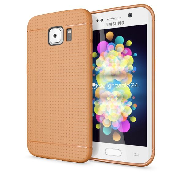 NALIA Handyhülle kompatibel mit Samsung Galaxy S6 Edge, Ultra-Slim Case Hülle Soft-Cover, Dünne Punkte Schutzhülle Etui Handy-Tasche Back-Cover Bumper, TPU Smart-Phone Silikon-Hülle - Mesh Orange – Bild 1