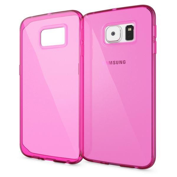 NALIA Handyhülle kompatibel mit Samsung Galaxy S6 Edge, Ultra-Slim Silikon Case Hülle Crystal Schutzhülle Dünn Durchsichtig, Handy-Tasche Schale Thin Back-Cover Smart-Phone Bumper - Pink Transparent – Bild 1