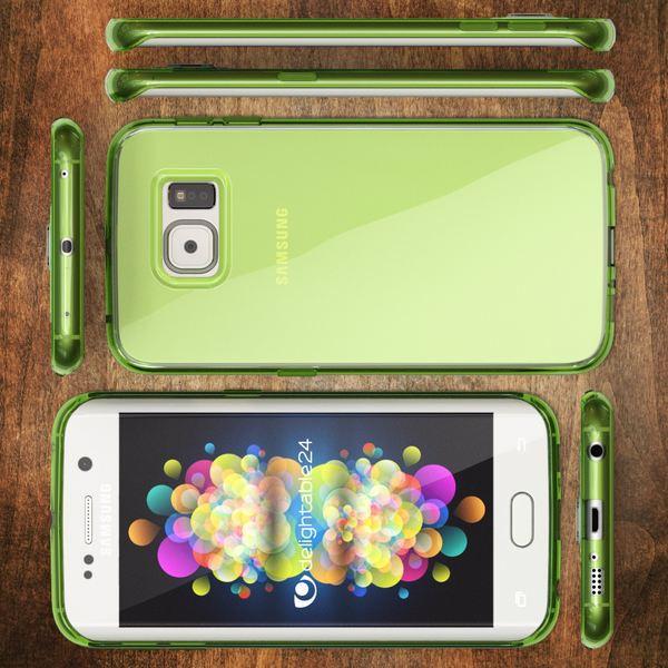 NALIA Handyhülle kompatibel mit Samsung Galaxy S6 Edge, Ultra-Slim Silikon Case Hülle Crystal Schutzhülle Dünn Durchsichtig, Handy-Tasche Schale Thin Back-Cover Smart-Phone Bumper - Grün Transparent – Bild 5