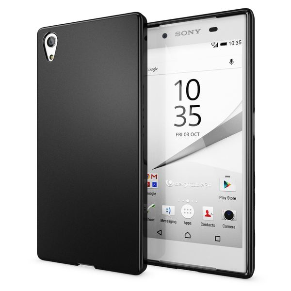 NALIA Handyhülle kompatibel mit Sony Xperia Z5, Ultra-Slim Silikon Case, Dünne Crystal Schutzhülle, Etui Handy-Tasche Back-Cover Phone Bumper, TPU Smartphone Gummihülle - Matt Schwarz – Bild 1
