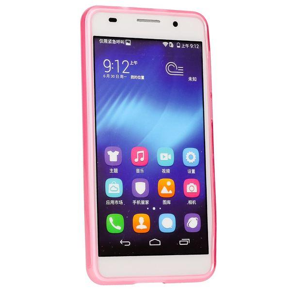 NALIA Handyhülle kompatibel mit Huawei Honor 6, Ultra-Slim TPU Silikon Case Cover Gummi-Hülle Schutzhülle Dünn, Etui Handy-Tasche Schale Soft TPU Back-Cover Smart-Phone Bumper - Transparent / Pink – Bild 5