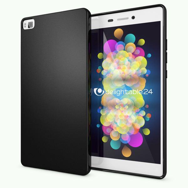 NALIA Handyhülle für Huawei P8, Ultra-Slim Silikon Case Cover Hülle, Dünne Crystal Schutzhülle, Etui Handy-Tasche Back-Cover Phone Bumper, softe TPU Gummihülle für P-8 Smartphone - Matt Schwarz – Bild 1
