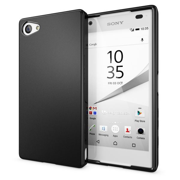NALIA Handyhülle kompatibel mit Sony Xperia Z5 Compact (Mini), Ultra-Slim Silikon Smartphone Case, Dünne Crystal Schutzhülle, Etui Handy-Tasche Back-Cover Bumper, TPU Gummihülle - Matt Schwarz – Bild 1