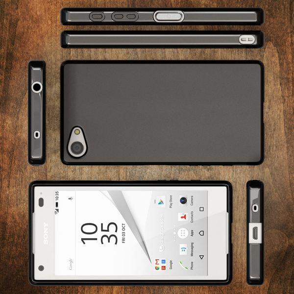 NALIA Handyhülle kompatibel mit Sony Xperia Z5 Compact (Mini), Ultra-Slim Silikon Smartphone Case, Dünne Crystal Schutzhülle, Etui Handy-Tasche Back-Cover Bumper, TPU Gummihülle - Matt Schwarz – Bild 6