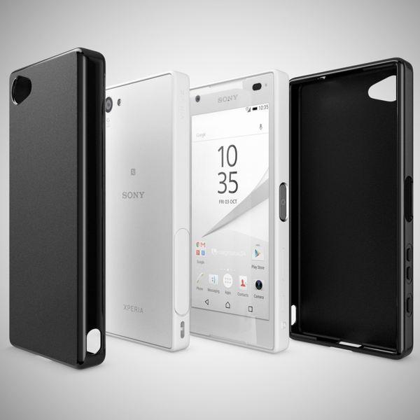 NALIA Handyhülle kompatibel mit Sony Xperia Z5 Compact (Mini), Ultra-Slim Silikon Smartphone Case, Dünne Crystal Schutzhülle, Etui Handy-Tasche Back-Cover Bumper, TPU Gummihülle - Matt Schwarz – Bild 4