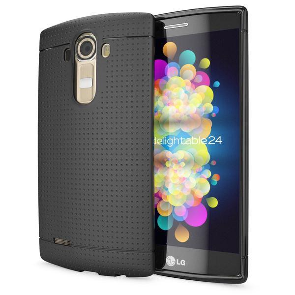NALIA Handyhülle für LG G4, Ultra-Slim Case Softcover, Dünne Punkte Schutzhülle, perforierte Etui Handy-Tasche Back-Cover Bumper, TPU Silikon-Hülle für LG G-4 Smart-Phone - Mesh Schwarz – Bild 1
