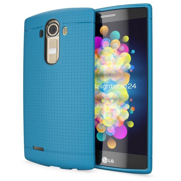 NALIA Handyhülle für LG G4, Ultra-Slim Case Softcover, Dünne Punkte Schutzhülle, perforierte Etui Handy-Tasche Back-Cover Bumper, TPU Silikon-Hülle für LG G-4 Smart-Phone - Mesh Blau – Bild 1