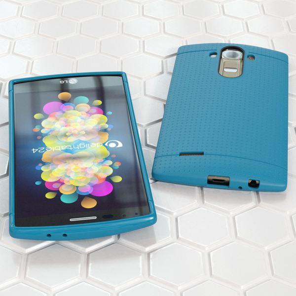 NALIA Handyhülle für LG G4, Ultra-Slim Case Softcover, Dünne Punkte Schutzhülle, perforierte Etui Handy-Tasche Back-Cover Bumper, TPU Silikon-Hülle für LG G-4 Smart-Phone - Mesh Blau – Bild 4
