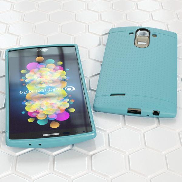 LG G4 Hülle Handyhülle von NALIA, Ultra-Slim Case Softcover, Dünne Punkte Schutzhülle, perforierte Etui Handy-Tasche Back-Cover Bumper, TPU Silikon-Hülle für LG G-4 Smart-Phone - Mesh Türkis – Bild 4