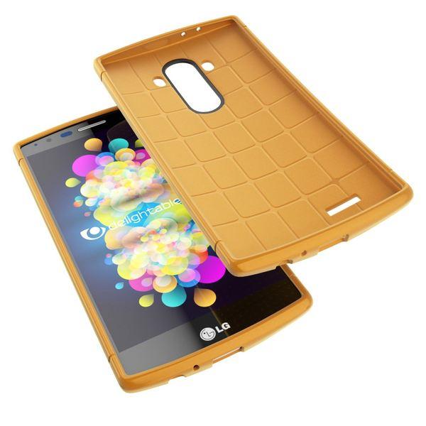 NALIA Handyhülle für LG G4, Ultra-Slim Case Softcover, Dünne Punkte Schutzhülle, perforierte Etui Handy-Tasche Back-Cover Bumper, TPU Silikon-Hülle für LG G-4 Smart-Phone - Mesh Champagner Gold – Bild 3