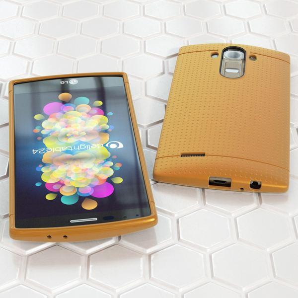 NALIA Handyhülle für LG G4, Ultra-Slim Case Softcover, Dünne Punkte Schutzhülle, perforierte Etui Handy-Tasche Back-Cover Bumper, TPU Silikon-Hülle für LG G-4 Smart-Phone - Mesh Champagner Gold – Bild 4