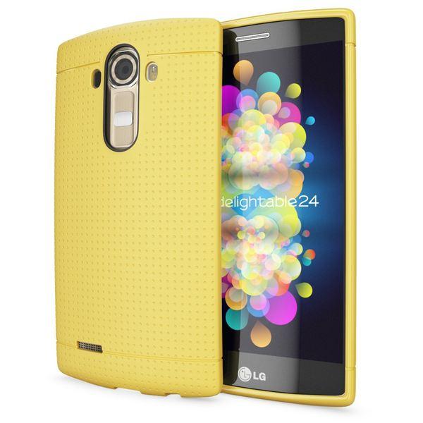 LG G4 Hülle Handyhülle von NALIA, Ultra-Slim Case Softcover, Dünne Punkte Schutzhülle, perforierte Etui Handy-Tasche Back-Cover Bumper, TPU Silikon-Hülle für LG G-4 Smart-Phone - Mesh Gelb – Bild 1