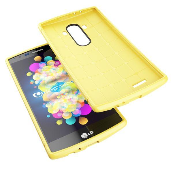 LG G4 Hülle Handyhülle von NALIA, Ultra-Slim Case Softcover, Dünne Punkte Schutzhülle, perforierte Etui Handy-Tasche Back-Cover Bumper, TPU Silikon-Hülle für LG G-4 Smart-Phone - Mesh Gelb – Bild 3