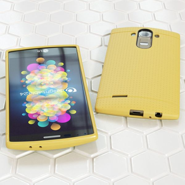LG G4 Hülle Handyhülle von NALIA, Ultra-Slim Case Softcover, Dünne Punkte Schutzhülle, perforierte Etui Handy-Tasche Back-Cover Bumper, TPU Silikon-Hülle für LG G-4 Smart-Phone - Mesh Gelb – Bild 4