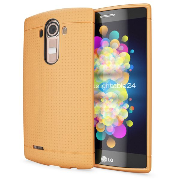 NALIA Handyhülle kompatibel mit LG G4, Ultra-Slim Case Softcover, Dünne Punkte Schutzhülle, perforierte Etui Handy-Tasche Back-Cover Bumper, TPU Smart-Phone Silikonhülle Hülle - Mesh Orange – Bild 1