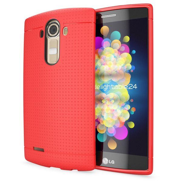 NALIA Handyhülle für LG G4, Ultra-Slim Case Softcover, Dünne Punkte Schutzhülle, perforierte Etui Handy-Tasche Back-Cover Bumper, TPU Silikon-Hülle für LG G-4 Smart-Phone - Mesh Rot – Bild 1