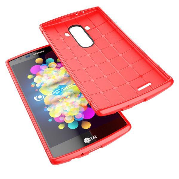 LG G4 Hülle Handyhülle von NALIA, Ultra-Slim Case Softcover, Dünne Punkte Schutzhülle, perforierte Etui Handy-Tasche Back-Cover Bumper, TPU Silikon-Hülle für LG G-4 Smart-Phone - Mesh Rot – Bild 3