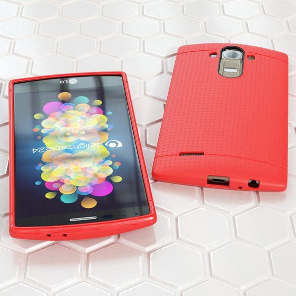 NALIA Handyhülle für LG G4, Ultra-Slim Case Softcover, Dünne Punkte Schutzhülle, perforierte Etui Handy-Tasche Back-Cover Bumper, TPU Silikon-Hülle für LG G-4 Smart-Phone - Mesh Rot – Bild 4