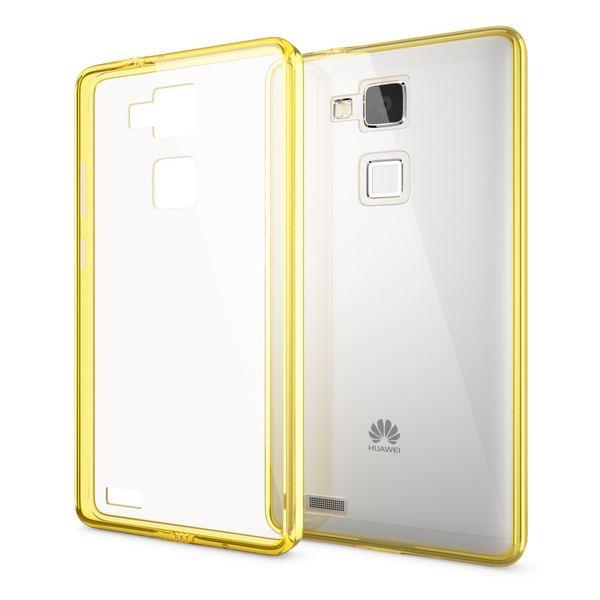 NALIA Handyhülle kompatibel mit Huawei Ascend Mate 7, Durchsichtiges Slim Silikon Case Transparente Hülle, Rückseite & Bumper, Crystal Schutzhülle Cover Etui Dünn Handy-Tasche - Transparent / Gelb – Bild 1