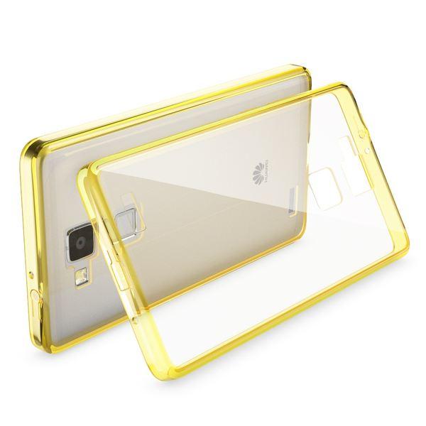 NALIA Handyhülle kompatibel mit Huawei Ascend Mate 7, Durchsichtiges Slim Silikon Case Transparente Hülle, Rückseite & Bumper, Crystal Schutzhülle Cover Etui Dünn Handy-Tasche - Transparent / Gelb – Bild 2