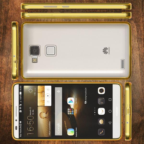 NALIA Handyhülle für Huawei Ascend Mate 7, Durchsichtiges Slim Silikon Case Transparente Hülle, Rückseite & Bumper, Crystal Schutzhülle Cover Etui Dünn, Handy-Tasche Backcover - Transparent / Gelb – Bild 7