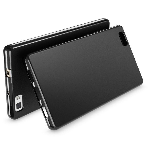 NALIA Handyhülle für Huawei P8 Lite, Ultra-Slim Silikon Case Cover Hülle, Dünne Crystal Schutzhülle, Etui Handy-Tasche Back-Cover Bumper, TPU Gummihülle für P8-Lite Smart-Phone - Matt Schwarz – Bild 2