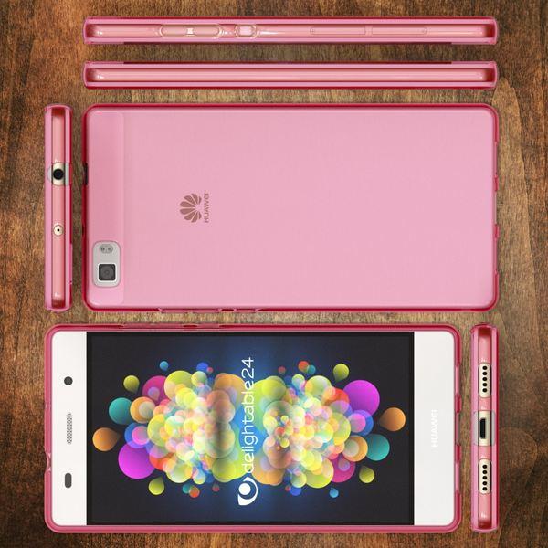 NALIA Handyhülle kompatibel mit Huawei P8 Lite, Ultra-Slim Silikon Case Cover Hülle, Dünne Crystal Schutzhülle Etui Handy-Tasche Back-Cover Bumper, TPU Smart-Phone Gummi Hülle - Transparent / Pink – Bild 7