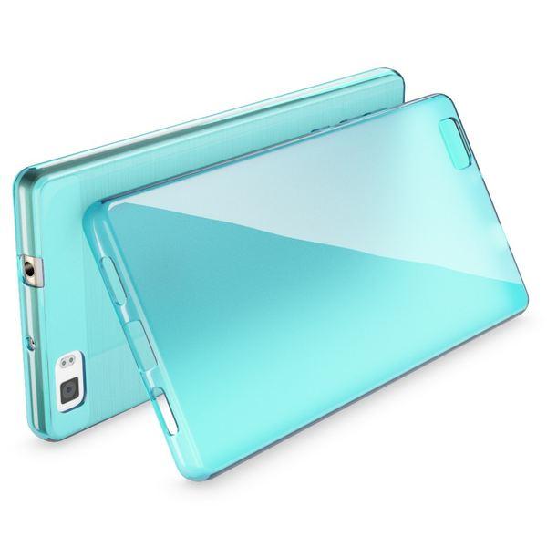 NALIA Handyhülle für Huawei P8 Lite, Ultra-Slim Silikon Case Cover Hülle, Dünne Crystal Schutzhülle, Etui Handy-Tasche Bumper, TPU Gummihülle für P8-Lite Smart-Phone - Transparent / Türkis – Bild 2