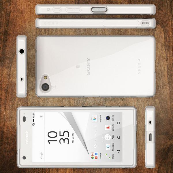 NALIA Handyhülle kompatibel mit Sony Xperia Z5 Compact, Slim Silikon Case Cover Crystal Clear Schutzhülle Dünn Durchsichtig, Etui Handy-Tasche Backcover Transparent, Phone Schutz Bumper – Bild 6
