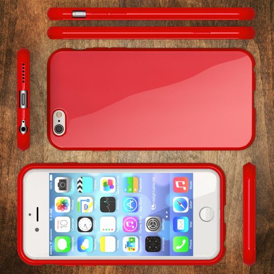 iPhone 6 Plus 6S Plus Hülle Handyhülle von NICA, Ultra-Slim TPU Silikon Jelly Case, Dünnes Cover Gummi Schutzhülle Skin, Handy-Tasche Backcover Bumper für Apple iPhone 6S Plus 6+ - Rot – Bild 5