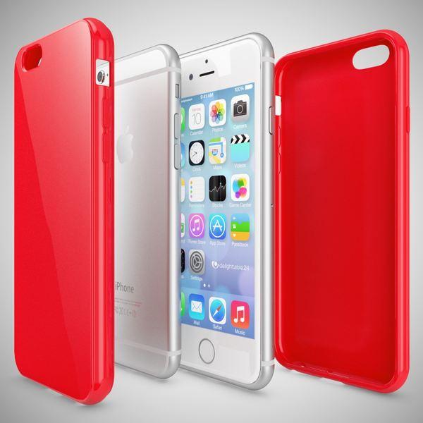 NALIA Handyhülle kompatibel mit iPhone 6 Plus 6S Plus, Ultra-Slim TPU Silikon Jelly Case, Dünne Cover Gummi Schutz-Hülle Skin, Handy-Tasche Telefon-Schale Back-Cover Thin Smart-Phone Bumper - Rot – Bild 3