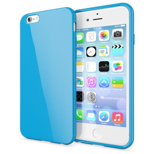 iPhone 6 Plus 6S Plus Hülle Handyhülle von NICA, Ultra-Slim TPU Silikon Jelly Case, Dünnes Cover Gummi Schutzhülle Skin, Handy-Tasche Backcover Bumper für Apple iPhone 6S Plus 6+ - Blau – Bild 1