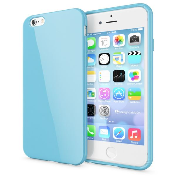 NALIA Handyhülle kompatibel mit iPhone 6 Plus 6S Plus, Ultra-Slim TPU Silikon Jelly Case, Dünne Cover Gummi Schutz-Hülle Skin, Handy-Tasche Schale Back-Cover Thin-Fit Smart-Phone Bumper - Hell Blau – Bild 1