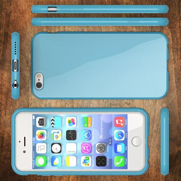 NALIA Handyhülle kompatibel mit iPhone 6 Plus 6S Plus, Ultra-Slim TPU Silikon Jelly Case, Dünne Cover Gummi Schutz-Hülle Skin, Handy-Tasche Schale Back-Cover Thin-Fit Smart-Phone Bumper - Hell Blau – Bild 5
